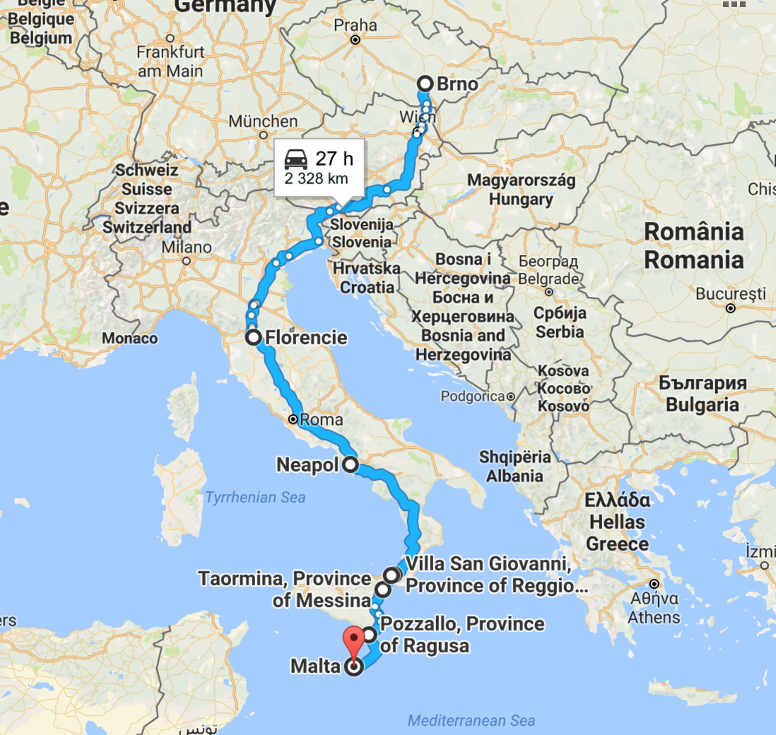 Roadtrip 2300 km to Malta